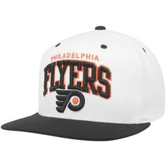 Mitchell & Ness Philadelphia Flyers Black-White Arch Two-Tone Snapback... ❤ liked on Polyvore featuring accessories, hats, snapback, two tone hat, mitchell ness snapback, white and black snapback hats, nhl hats and adjustable hats