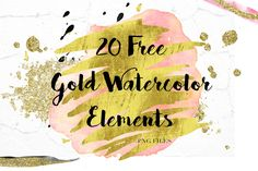 DLOLLEYS HELP: 20 Free Gold Watercolor Elements