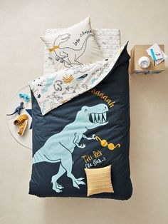 Children's Reversible Duvet Cover & Pillowcase Set, Dinorama Theme - BLUE DARK ALL OVER PRINTED - 1