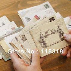 (1 Lot=12 Pcs) DIY Scrapbooking Paper Retro Envelopes Vintage Mini Enveloppe Color Wedding Decoration papelaria Party Supplies
