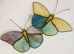Stained Glass Butterfly Suncatcher Two Blue Purple Gold Butterflies $27 #stained_glass
