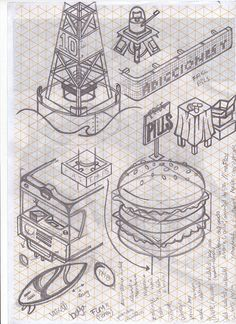 Sketches on a isometric reticle paper! Dont like the lines when im drawin, but in this case the paper helped too much, without the lines would be impossible. I was 2 months just thinking about things you can find in a city, and trying to draw them. What Is Isometric Drawing, Isometric Sketch, Isometric Drawing Exercises, Isometric Art, Isometric Design, Illustration Sketches, Graphic Illustration, Drawing Sketches, Art Drawings