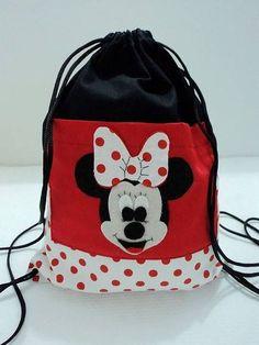 Mochila+em+tecido+100%+algodão+com+bolso++.+Minnie+confeccionada+em+feltro+aplicada+no+bolso.+Quantidade+mínima+de+15+unidades. R$ 12,50