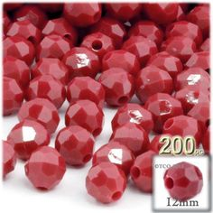 100-pcPlastic Round Opaque Faceted Beads 12mm Red