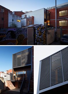 Diagonal black screens add interest to rear facade of this apartment, while steps lead from the laneway up to the front door. Australian Architecture, Amazing Architecture, Architecture Design, Wood Like Tile, Sage Green Walls, Rooftop Deck, Built In Bench, Light Installation, Large Windows