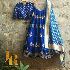 Blue lehenga and turquoise blue dupatta