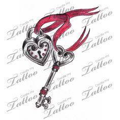 Marketplace Tattoo Heart Locket & Key with Ribbon Tattoo #3236 | CreateMyTattoo.com