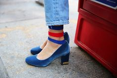 Trendy High Heels For You : Esthers Picks: She Wore Blue Velvet Shoes and Cool Ass Socks Red Heels, High Heels, Sock Shoes, Shoe Boots, Sheer Socks, Velvet Shoes, Blue Velvet, Me Too Shoes, Fashion Shoes