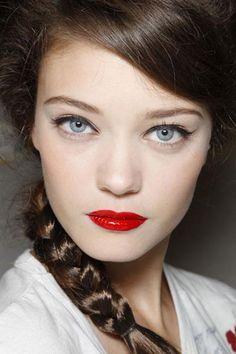 Red lips, black eyeliner