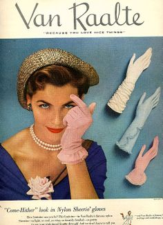 A lovely 1948 advertisement for Van Raalte gloves in cheerful springtime hues. #vintage #gloves #ads #1940s