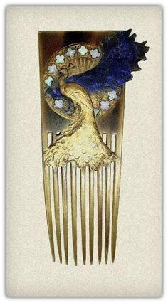 René lalique, gilded tortoiseshell hair comb set with opals, Vintage Hair Combs, Vintage Hair Accessories, Bijoux Art Nouveau, Art Nouveau Jewelry, Tiara Hairstyles, Vintage Hairstyles, Art Deco, Lalique Jewelry, Tortoise Shell Hair