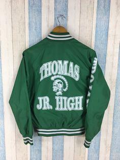 3f917dd17 HIGH Varsity Jacket Medium Thomas High School America Usa Baseball Jacket  Green Size M