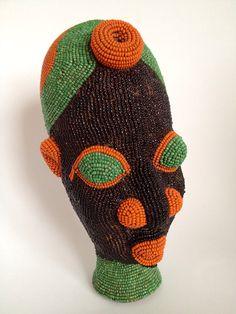 Vintage+African+bead+ceramic+head+++Black+green+by+BazaarLiving,+£80.00