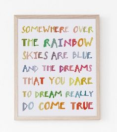 Somewhere Over The Rainbow lyrics rainbow quote cross stitch pattern