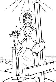 Saint Peter Holding The Keys To Kingdom Catholic Coloring Page