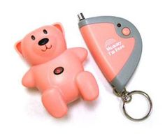 Mommy I'm Here CL-103-AS2TWB Teddy Bear Remote Child Locator, 2-Pack, One Pink and One Brown. Keep relaxed and aware of your child's whereabouts with the Mommy I'm Here Child Locator, a small two-unit wireless device. The cute, brown and pink, teddy-bear-shaped unit mounts easily to a child's shoe or belt. Ideal in public environments such as malls, the unit communicates with a keychain transmitter you keep on hand. Whenever you notice that a child has wandered too far, you simply press…