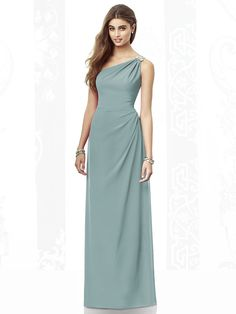 Dessy Collection Bridesmaid Dress 6688 Full length one shoulder nu-georgette dress has brooch detail at shoulder. Draped bodice and skirt.