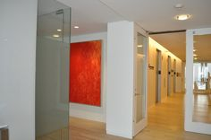 """Art Consultant:  Danielle Wohl - Corporate Collection, San Francisco.  Painting:  Gioi Tran, Red Parrot, 60""""x48"""", acrylic on canvas, courtesy of:  ArtHaus  www.arthaus-sf.com Canvas, Parrot, San Francisco, Presents, Homes, Paintings, Furniture, Red, Design"""