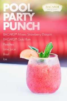 There's only one way to get down when the summer sun goes up: Pool Party Punch! Blend BACARDI® Mixers Strawberry Daiquiri, peaches, lime juice, basil, ice, and your favorite rum for fruity fun and fantastic flavors! Garnish with a peach slice, a basil leaf, or both. Dessert Drinks, Party Drinks, Cocktail Drinks, Fun Drinks, Cocktail Recipes, Beverages, Cocktails, Mixed Drinks, Desserts