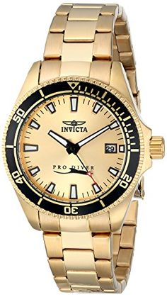 Women's Wrist Watches - Invicta Womens 15138SYB Pro Diver 18k Gold IonPlated Dive Watch * Check out the image by visiting the link. (This is an Amazon affiliate link)