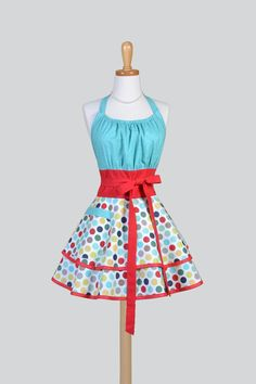 Flirty Chic . Vintage Pinup Polka Dots in Red Aqua Navy Rockabilly Sexy Womans Apron