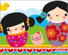 Wandsticker - Kinderzimmer - Kokeshi Dolls