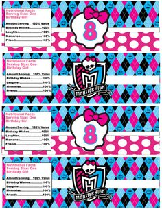 Instant Download Monster High Inspired Water Bottle Label, Monster Party Ideas, Monster High Party Printables, Age 8 Only on Etsy, $3.52 AUD