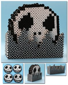 Jack Skellington coaster set perler beads by ThePlayfulPerler Perler Bead Disney, Diy Perler Beads, Perler Bead Art, Melty Bead Patterns, Pearler Bead Patterns, Beading Patterns, Perler Patterns, Christmas Perler Beads, 3d Christmas