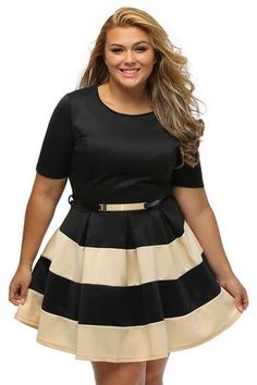 f8bd40d89d9 Plus Size Striped Skater Dress (XL-3XL). Robe Patineuse De Grande  TailleRobes ...