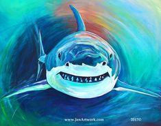 Shark Attack-Giclee by Jen Callahan Canvas Wrap,Tile,Cuttingboard, Great White Shark Art Shark Painting, Acrylic Painting Canvas, Canvas Wall Art, Watercolor Paintings, Fantasy Paintings, Animal Paintings, Animal Drawings, Art Drawings, Shark Art
