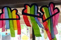 Rainbow/cloud: tissue paper suncatcher