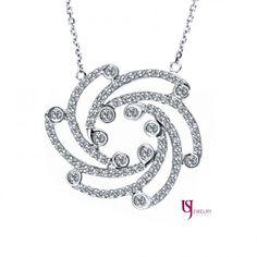 14K White Gold Whirl 1.08 Carat F/VS Diamond Encrusted Pendant Necklace Bezel Pave Set