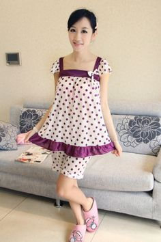 Square Neck Dotted Women's Short Sleeve  Half Leg Pajama Set on BuyTrends.com, only price $8.25