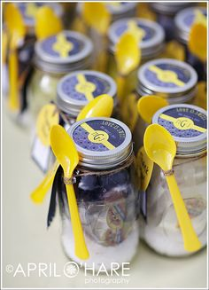 Take home jars of goodies.  So many good ideas...  Perfect Venue here in town too!