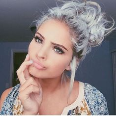 girl, goals, grey hair, make up, pretty