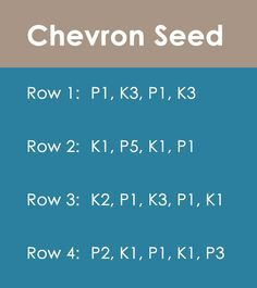 Chevron Seed Stitch Knitting Pattern for Beginners Knitting Help, Knitting Stiches, Knitting Charts, Easy Knitting, Loom Knitting, Knitting Needles, Knitting Patterns, Crochet Stitches, Start Knitting