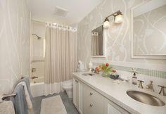 Kid's bathroom - contemporary - bathroom - san francisco - Faiella Design--show curtain with trim