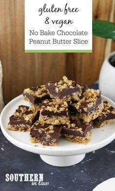 No Bake Chocolate Peanut Butter Oat Slice Recipe (Gluten Free
