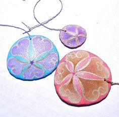 CAROUSEL Set of 3 Painted California Sand Dollar Ornaments.