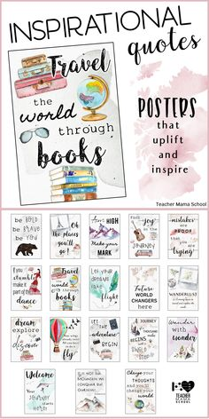 Inspirational Classroom Quotes Posters to uplift, inspire and motivate students! In beautiful watercolor hues and elements. Just perfect for travel-themed classrooms! quotes Watercolor Inspirational Quotes Posters: World Travel Decor 5th Grade Classroom, Classroom Design, Future Classroom, Classroom Themes, School Classroom, World Travel Decor, Travel Themes, Inspirational Classroom Quotes, Inspirational Posters