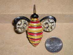 Vintage Signed Kramer Rhinestone Enamel Bee Pin Brooch 1950's Jewelry 2021 by drjewelsvern on Etsy https://www.etsy.com/listing/270786277/vintage-signed-kramer-rhinestone-enamel