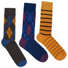 Argyle & Striped Mid Calf Socks Set on AHAlife