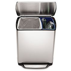 This rectangular stainless steel recycler allows you to neatly sort household trash and recycling items in one convenient, integrated can. It features 2 color-coded buckets, all-steel pedal lid lift, and an internal hinge for a flush fit against any wall.