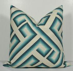 Decorative Geometric Pillow Cover - Turquoise - Teal - Aqua - Throw Pillow - Accent Pillow - trellis -