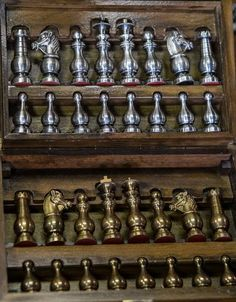 Vintage Brass & Steel Chess Set in Wood Box - Object Quality Antiques