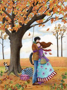 """Sunday With Hugs"" by Monica Carretero Art And Illustration, Photo Deco, Autumn Art, Naive Art, Couple Art, Whimsical Art, Illustrators, Folk Art, Art Drawings"