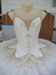 Ballet tutu for Paquita variation by Margaret Shore.  Ivory silk, gold braid, beige dye and beaded lace