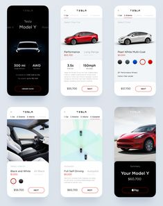 Tesla Model Y - Concept UI Kit for Figma - uistore. Web Design, App Ui Design, User Interface Design, Flat Design, Layout Design, Dashboard Design, Ui Kit, Design Thinking, Car App