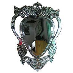 Venetian Style Mirror Tiara MG 080009 >> Venetian Mirror Manufacture Wholesale Size: H 140 cm x 70 cm Heart Mirror, Wall Mirror, Unique Mirrors, Dressing Mirror, Venetian Mirrors, Clock, Carving, Antiques, Glass