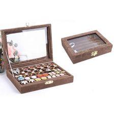 Baumwollsamt Ringkasten, Karton, mit Baumwollsamt & Glas, Rechteck, keine, 200x150x45mm, 5Stücke/Gruppe, verkauft von Gruppe - perlinshop.co...